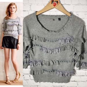 Anthropologie Knitted & Knotted PomPom Sweater XS